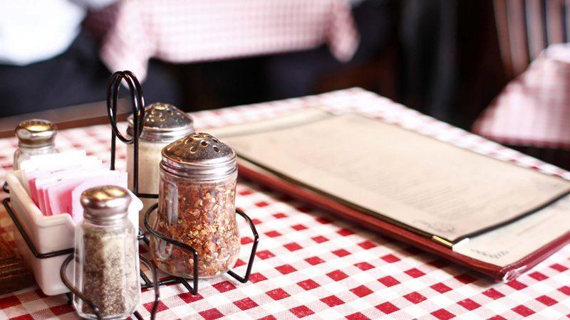 Pepper shaker in restaurant