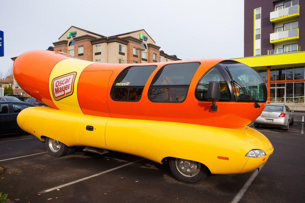 EUGENE, OR - NOVEMBER 12, 2015: Oscar Mayer Wienermobile makes an appearance at the University of Oregon in Eugene.; Shutterstock ID 343204187; Job (TFH, TOH, RD, BNB, CWM, CM): TOH Wienermobile Story
