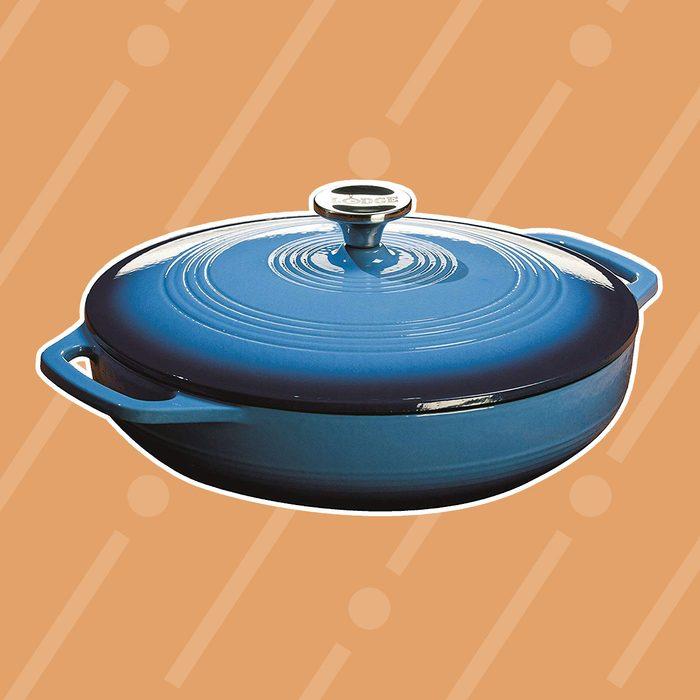 Blue enamel casserole dish