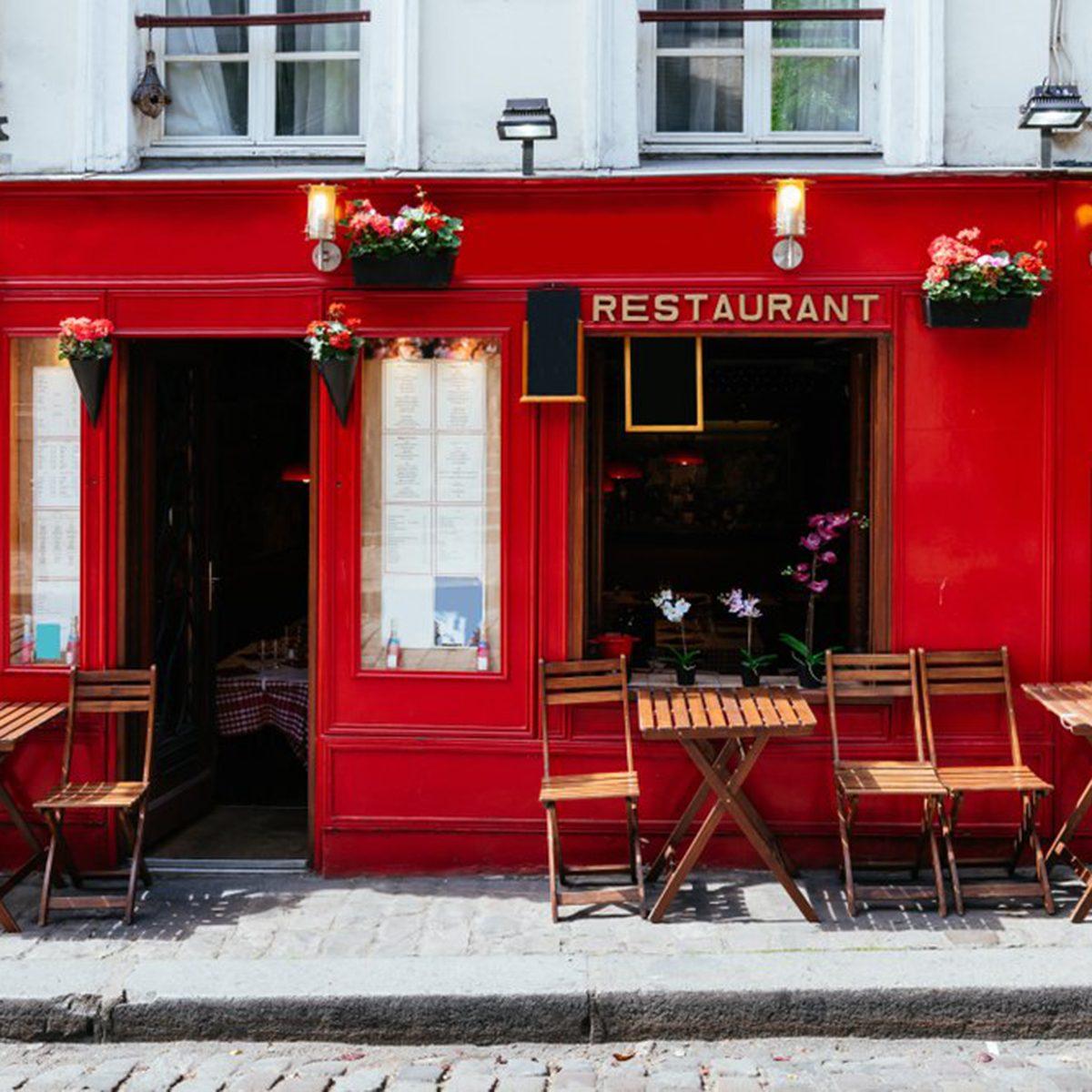 Bright red restaurant