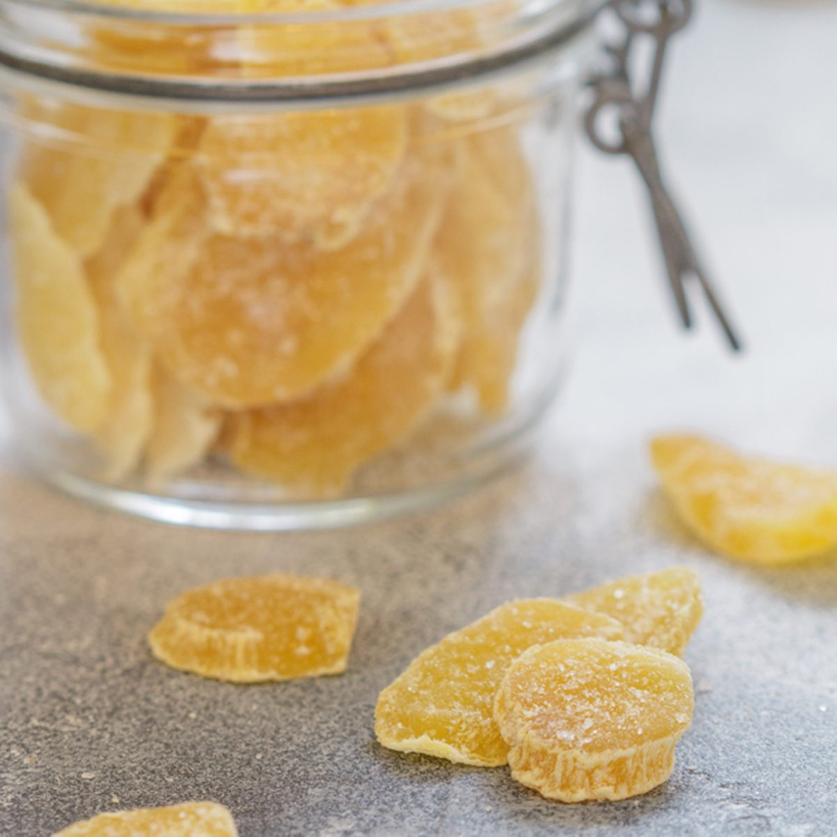 Candied ginger slices.