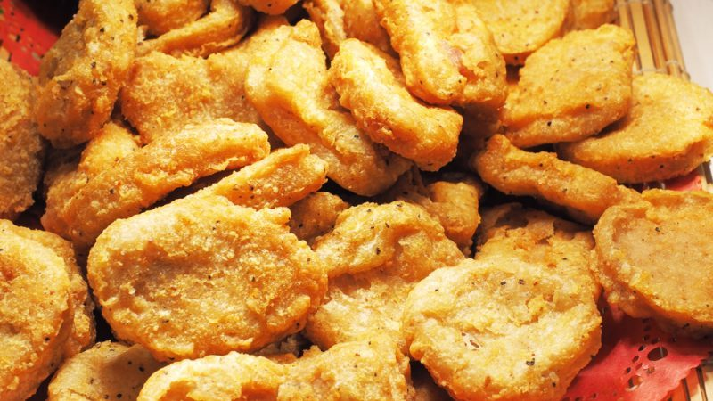 Close up of fried chicken nuggets on a buffet table