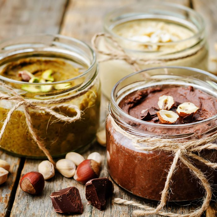 list toasted nut butters, pistachio, hazelnut and cashew.