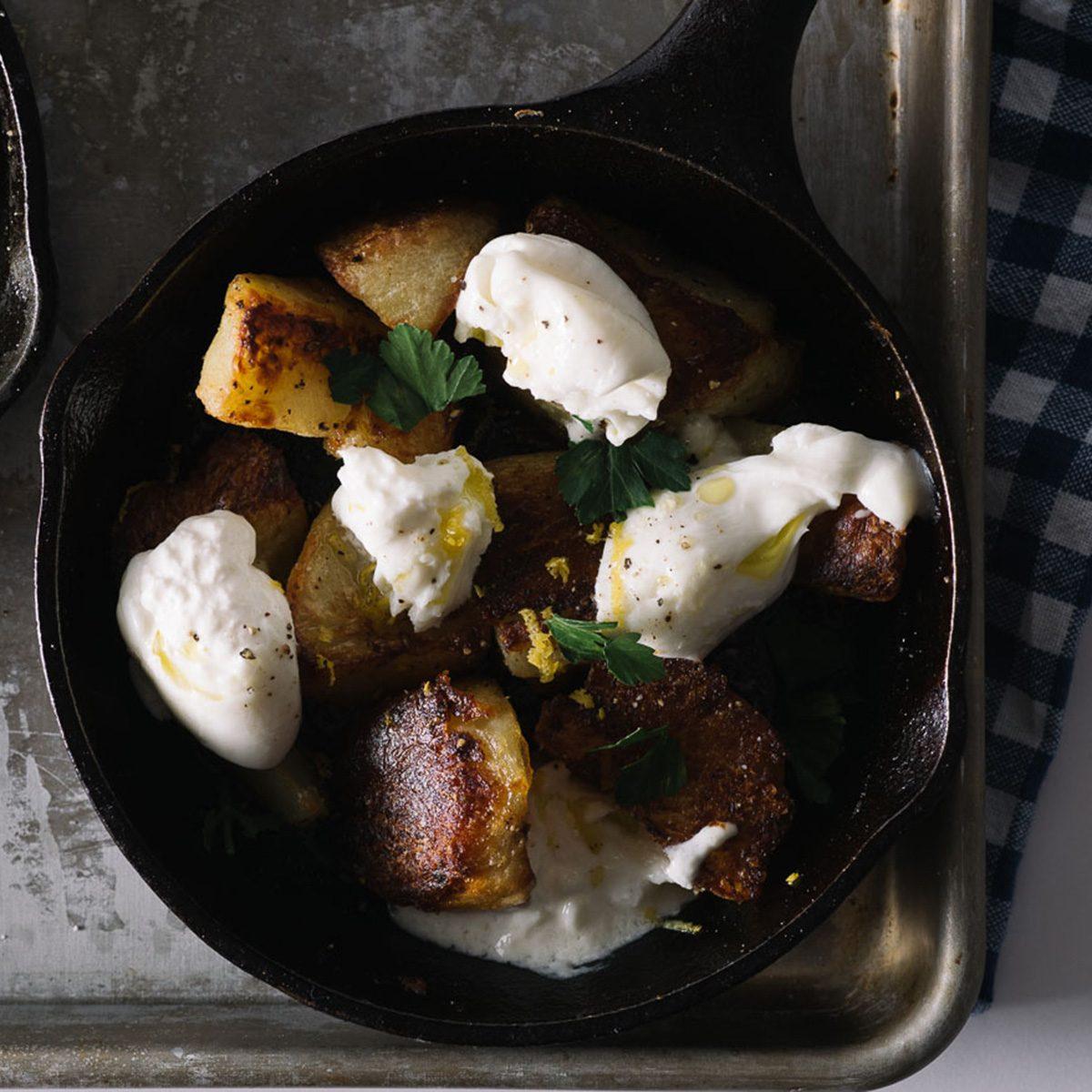 Crispy Roasted Potatoes with Burrata
