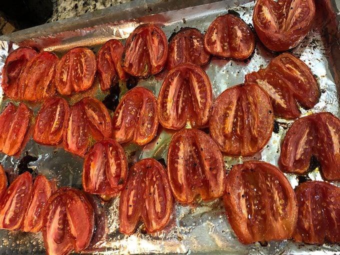 Roasting tomatoes on baking sheet