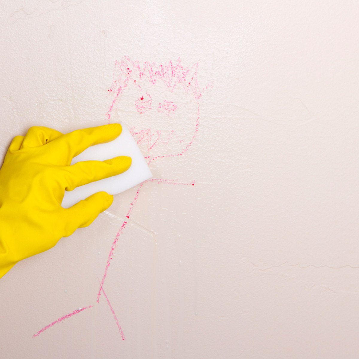 Removing crayon drawing from wall