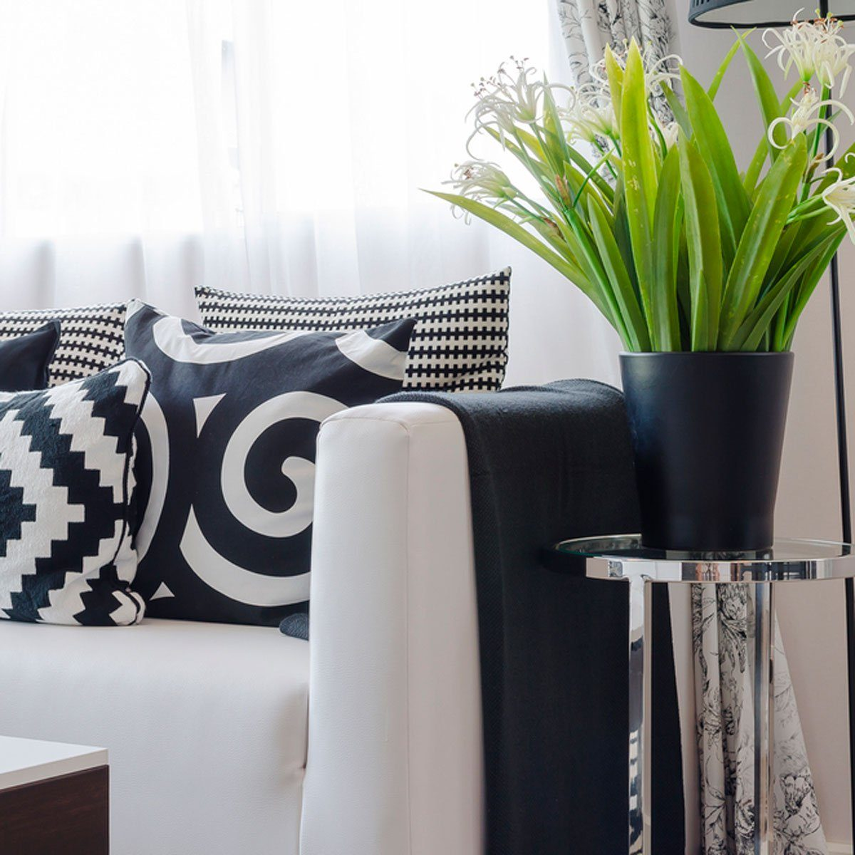 Black and white couch and pillows