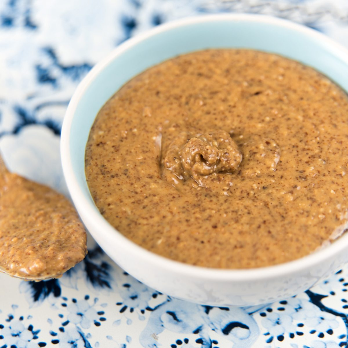 Organic Freshly Made Almond Butter in Small Serving Bowl; Shutterstock ID 278857178; Job (TFH, TOH, RD, BNB, CWM, CM): TOH