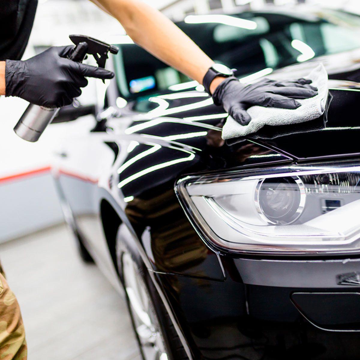 Cleaning car hood