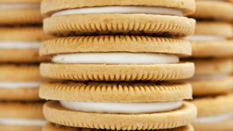 Full frame closeup shot of vanilla Oreo cookies.