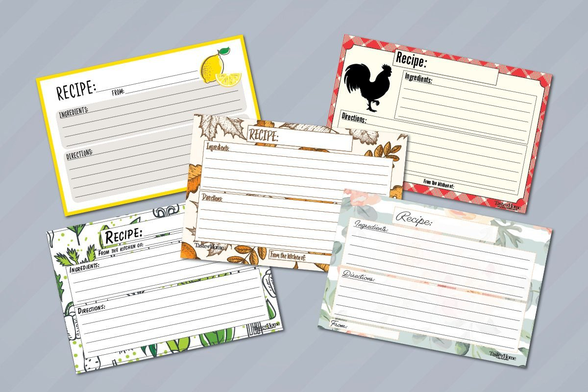10 Beautiful Recipe Cards Free Printable Included Taste Of Home