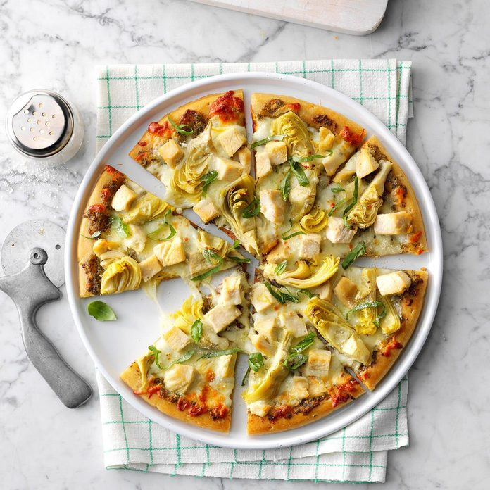 Artichoke Chicken Pesto Pizza