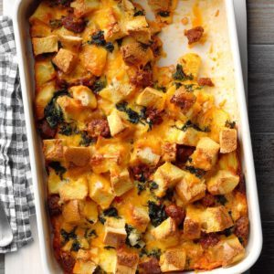 Cheddar and Chorizo Strata