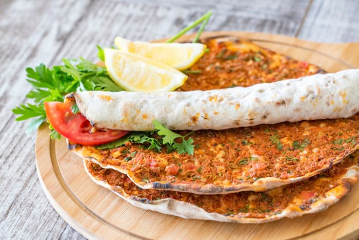 Turkish foods; Turkish pizza / Lahmacun