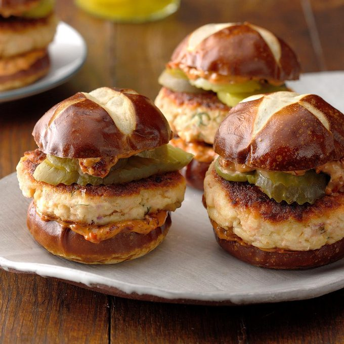 Salmon Sliders with Sun-Dried Tomato Spread