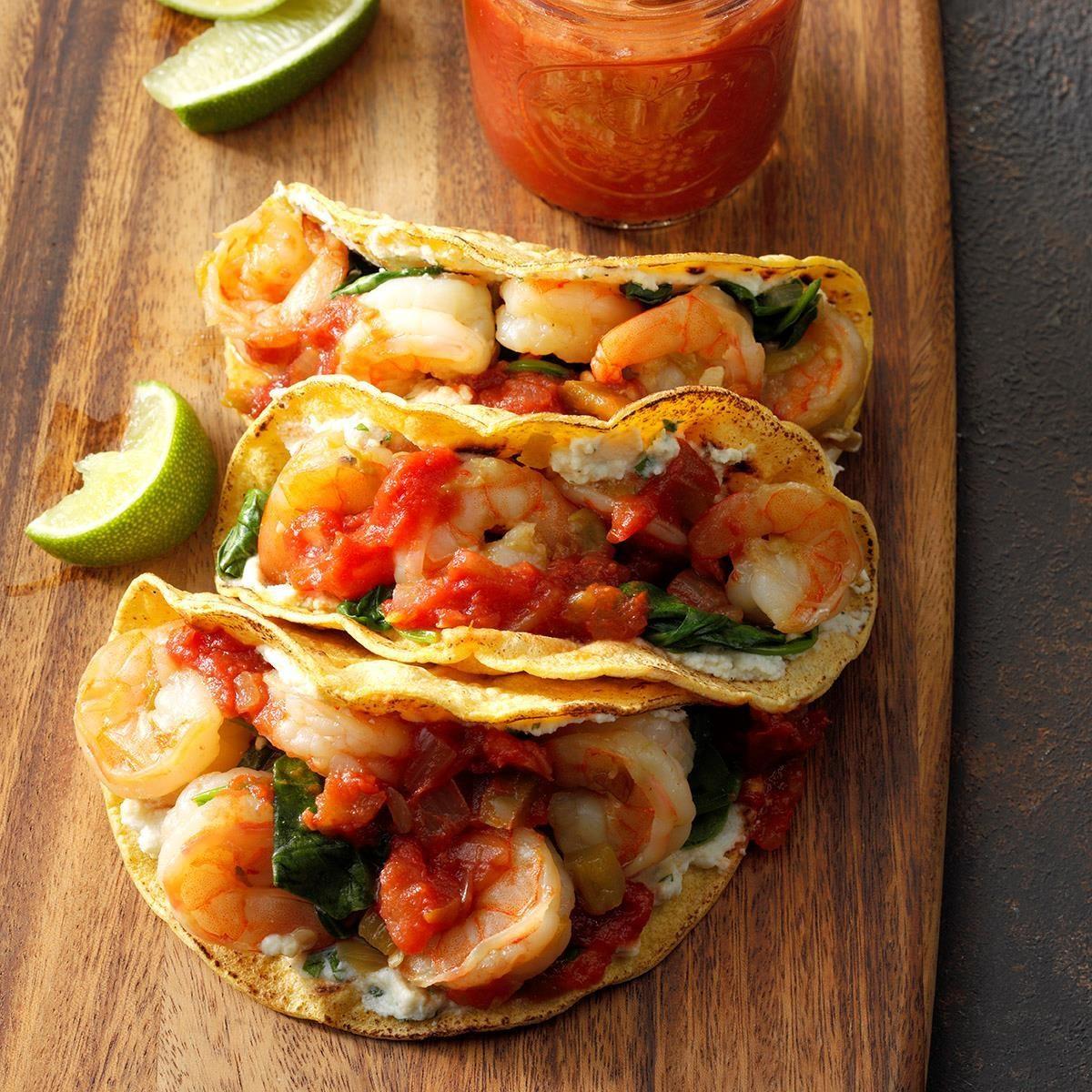 Spinach, Shrimp and Ricotta Tacos
