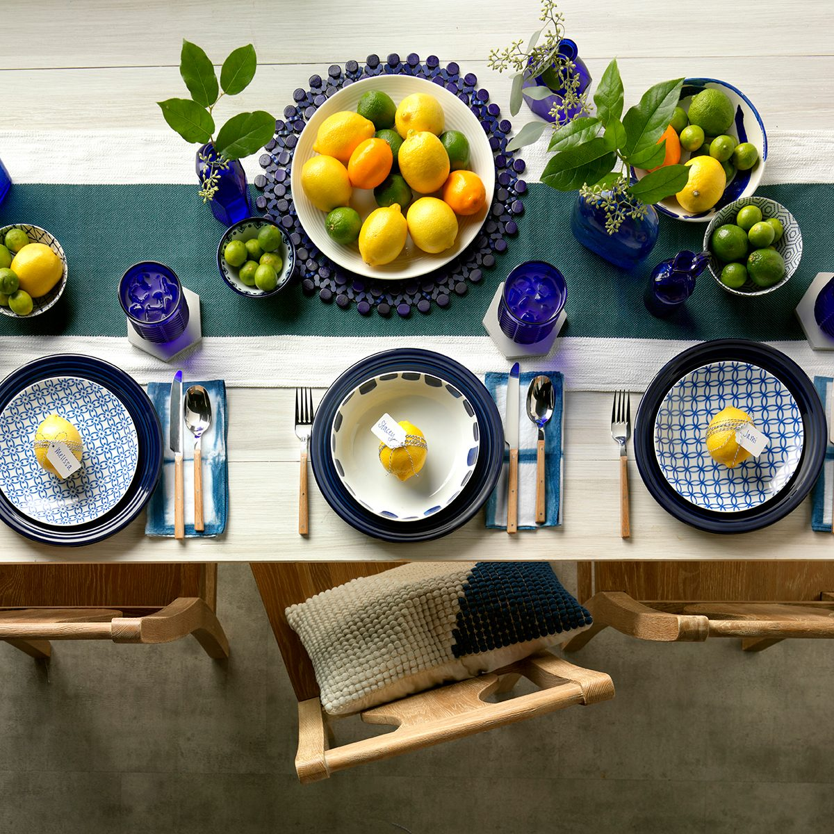 bright and citrus-y table display for spring