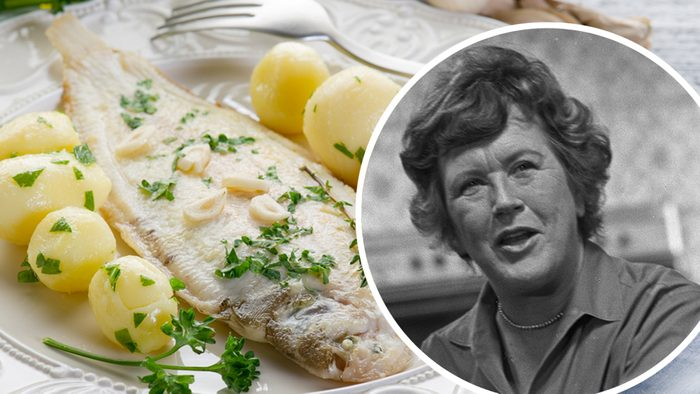 sole fish with potatoes; Shutterstock ID 67416541; Job (TFH, TOH, RD, BNB, CWM, CM): TOH Mandatory Credit: Photo by Bill Potter/Penske Media/REX/Shutterstock (6906382e) Julia Child cooking on the set of her WGBH cooking show, 'The French Chef Julia Child, Boston