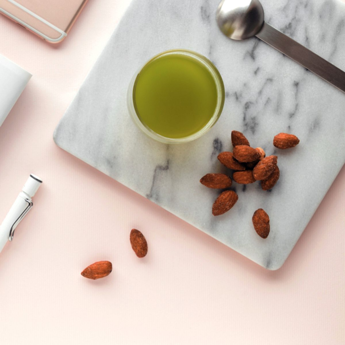 Creative flat lay workspace with minimal style.