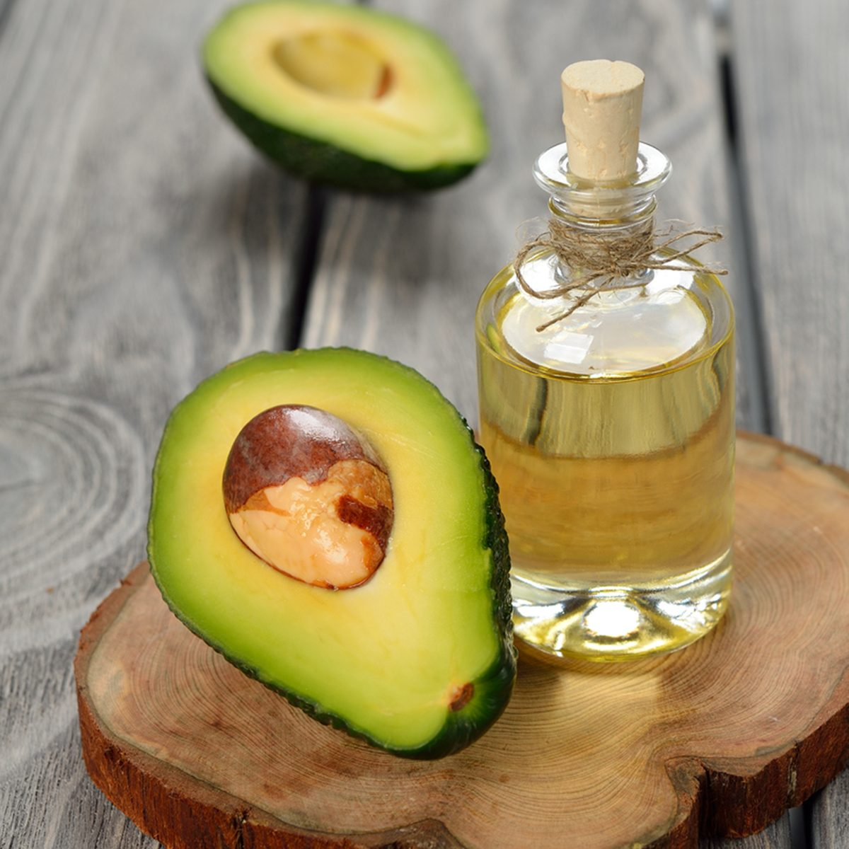 avocado oil on a gray background
