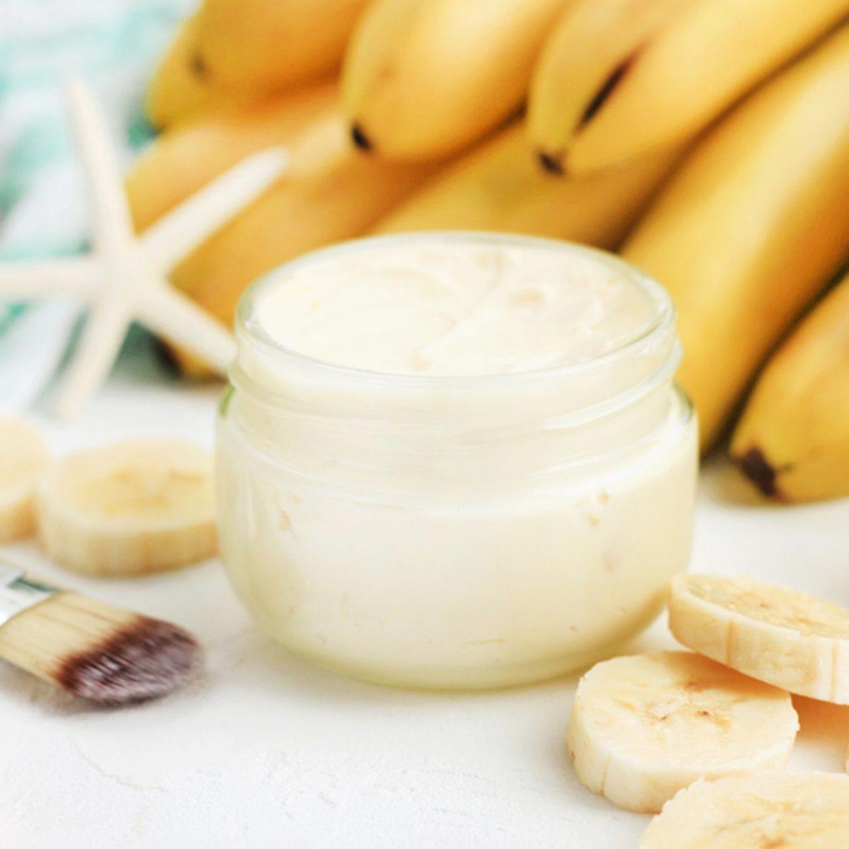 Homemade banana skincare beauty treatment mask.