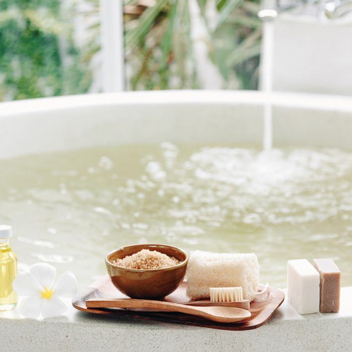 Spa decoration, natural organic products on a bathtube.