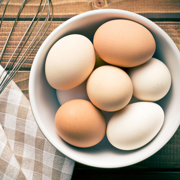 top view of eggs in bowl