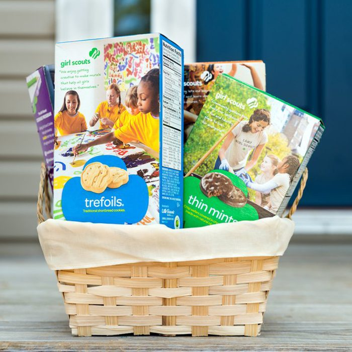 Girl Scout cookies in a basket