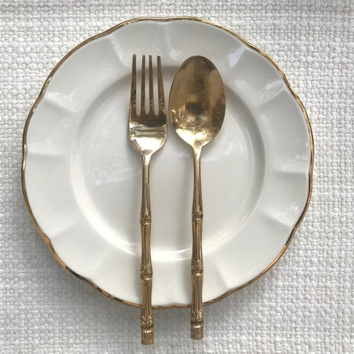 Gold plated dish and utensils