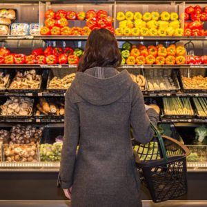 Person browsing in grocery store