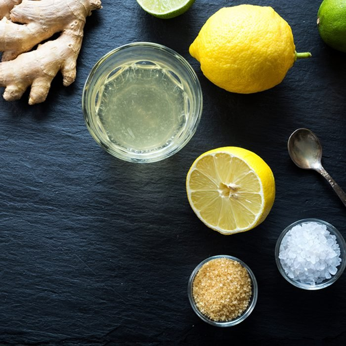 Natural isotonic drink lemonade with salt and ginger.