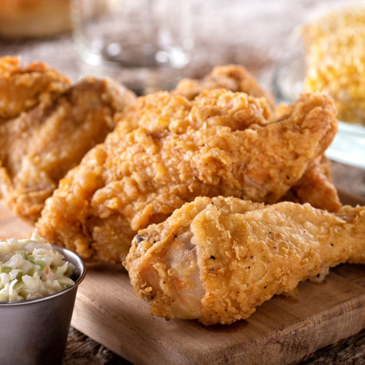 Delicious crispy fried chicken with coleslaw and corn on the cob.; Shutterstock ID 1145667110; Job (TFH, TOH, RD, BNB, CWM, CM): TOH