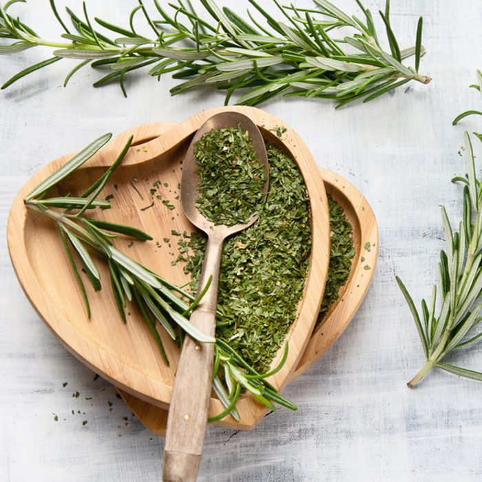 Dried rosemary with fresh rosemary twigs. Top view; Shutterstock ID 1199260477; Job (TFH, TOH, RD, BNB, CWM, CM): TOH