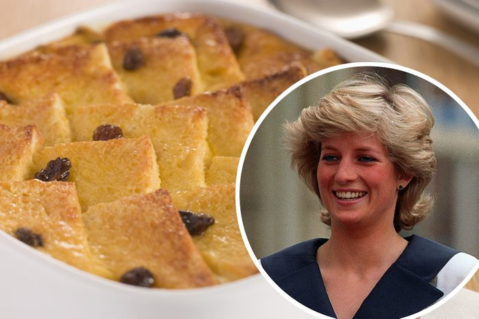 Bread and Butter Pudding in a Dish; Shutterstock ID 14927437; Job (TFH, TOH, RD, BNB, CWM, CM): TOH Mandatory Credit: Photo by Martin Cleaver/AP/REX/Shutterstock (7371825a) II Diana, Princess of Wales, left, and Britain's Queen Elizabeth II smile to well-wishers outside Clarence House in London, . The crowd wanted to wish Elizabeth, the Queen Mother, a happy 87th birthday