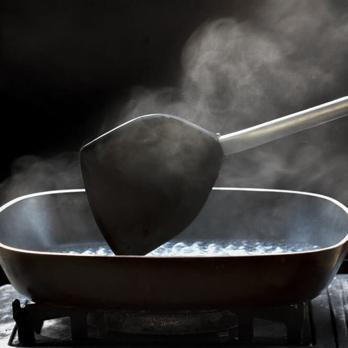 Heating oil in skillet