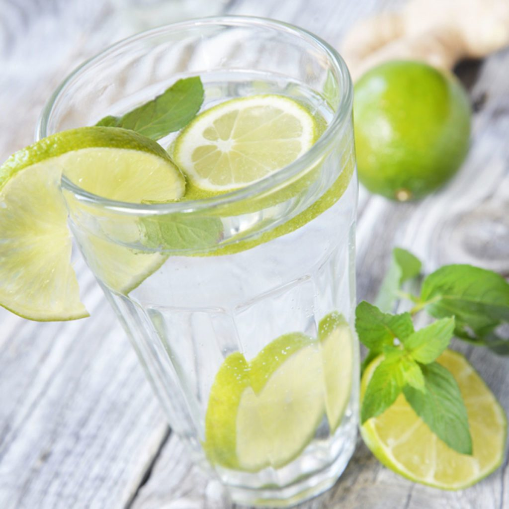 glass of detox water with lime and mint; Shutterstock ID 701411638; Job (TFH, TOH, RD, BNB, CWM, CM): Taste of Home