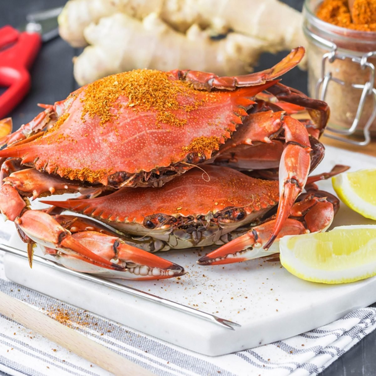 Crab Festival. Steamed crabs with spices. Maryland blue crabs.; Shutterstock ID 715427029; Job (TFH, TOH, RD, BNB, CWM, CM): TOH