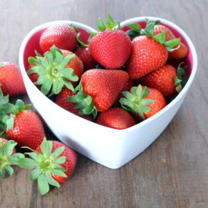 fresh and delicious strawberry on rustic table for Valentine Day