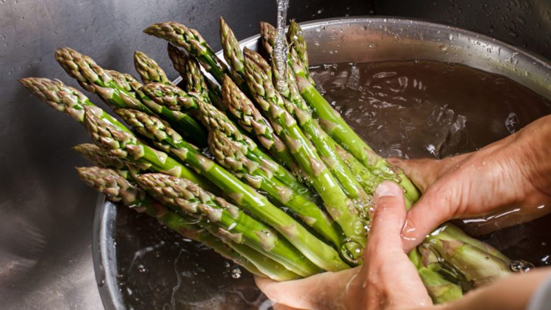 Man's hands washing asparagus.