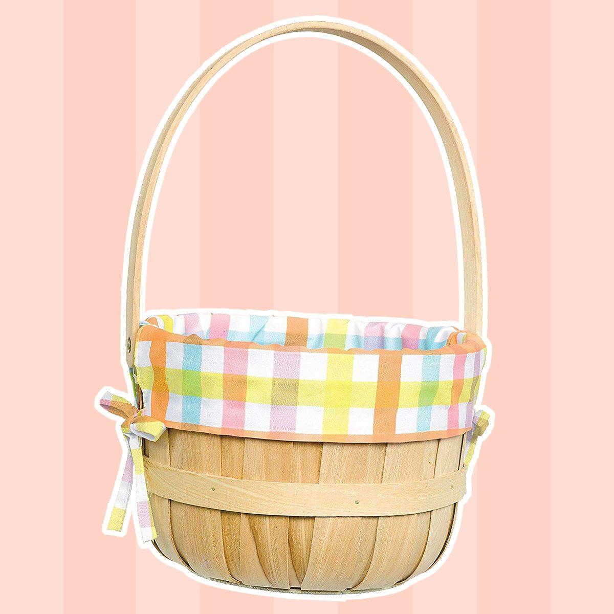 Amscan Round Pastel Plaid Liner Easter Basket