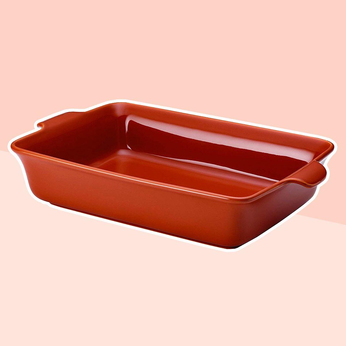 Anolon Vesta Ceramics 9-Inch x 13-Inch Rectangular Baker, Persimmon Orange