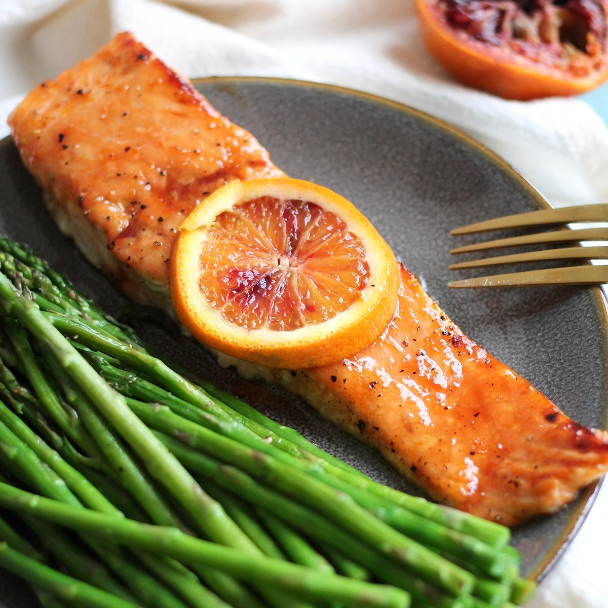 Blood Orange Honey Glazed Salmon
