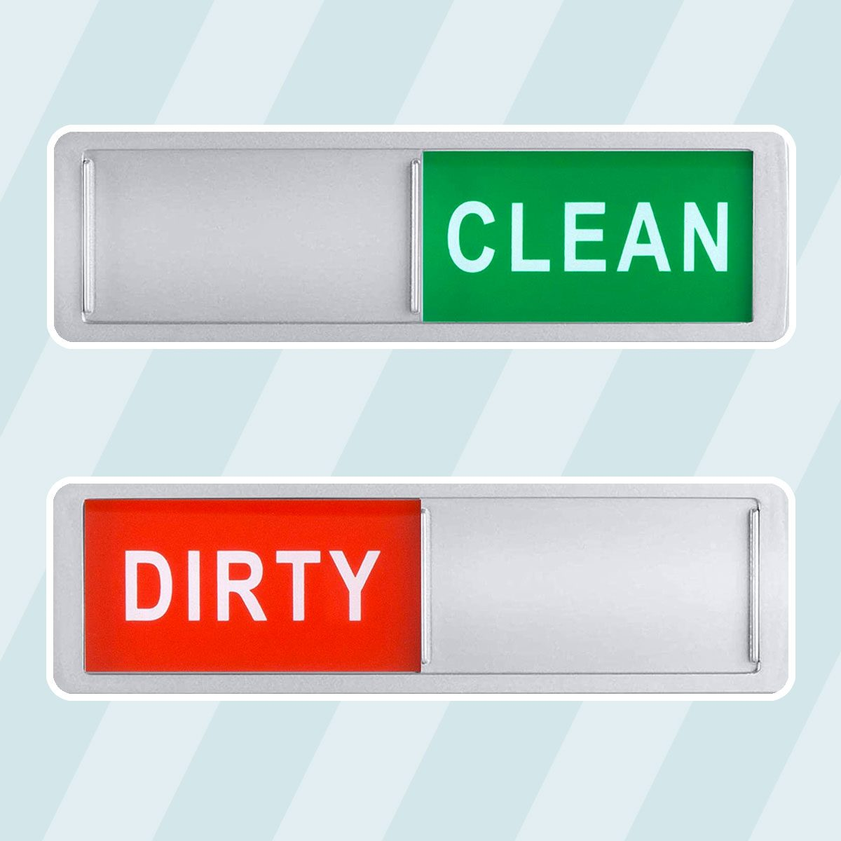 Clean Dirty Dishwasher Magnet - Non-Scratch Magnetic Silver Signage Indicator for Kitchen Dishes with Clear