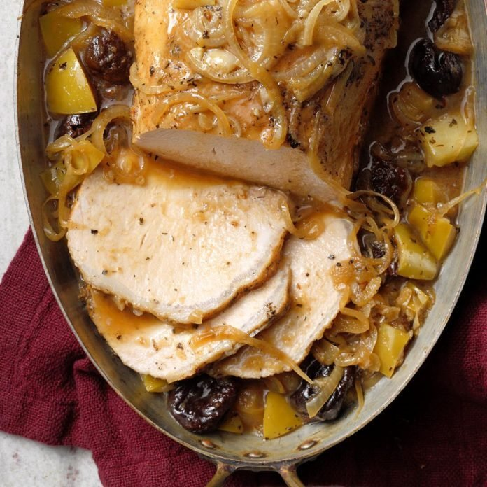 Pressure-Cooker Pork with Apples and Dried Plums