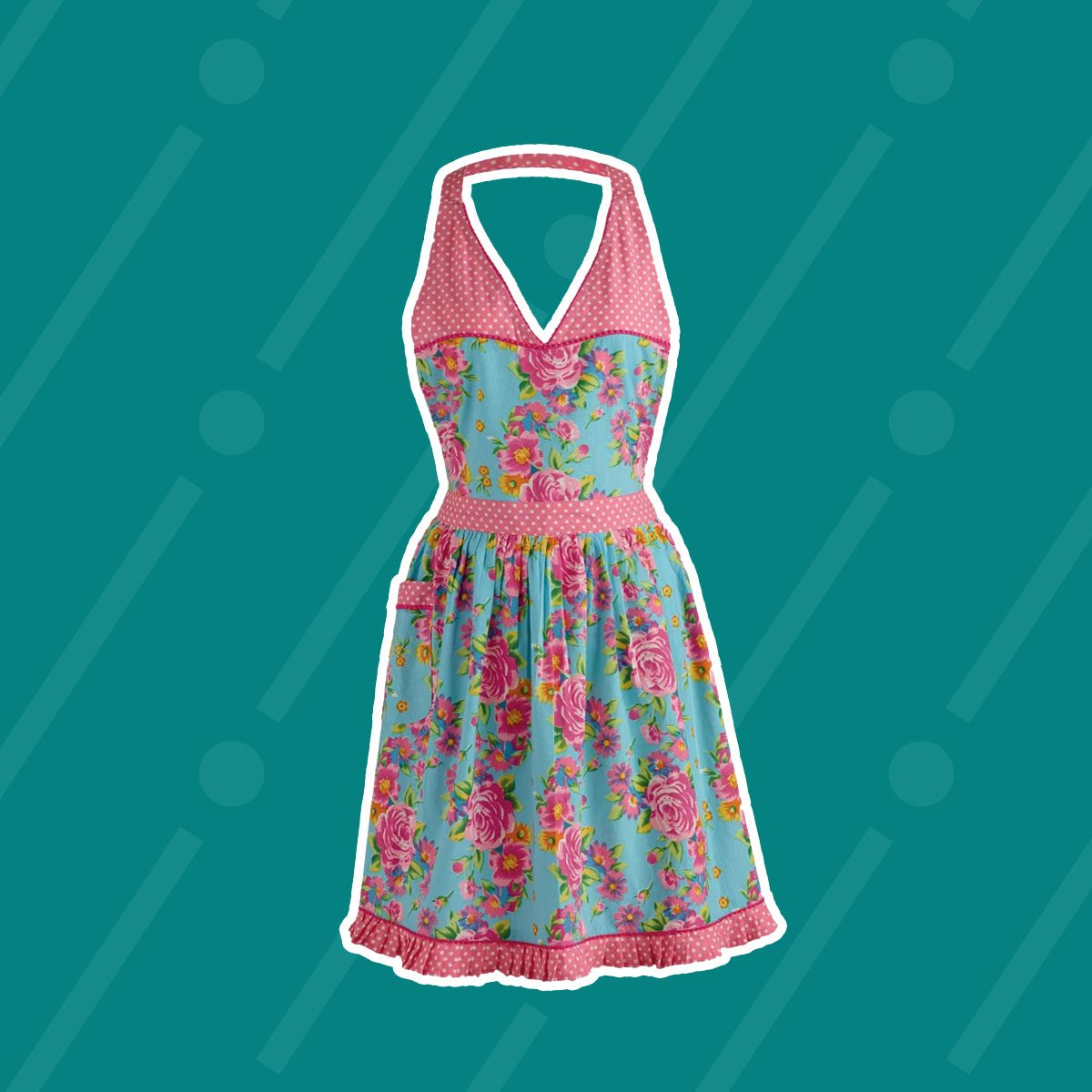 Floral And Pink Polka Dot Vintage Apron