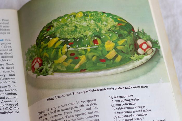 Photo of Ring Around the Tuna Jell-O mold, from the Joys of Jell-O Cookbook, 7th edition.