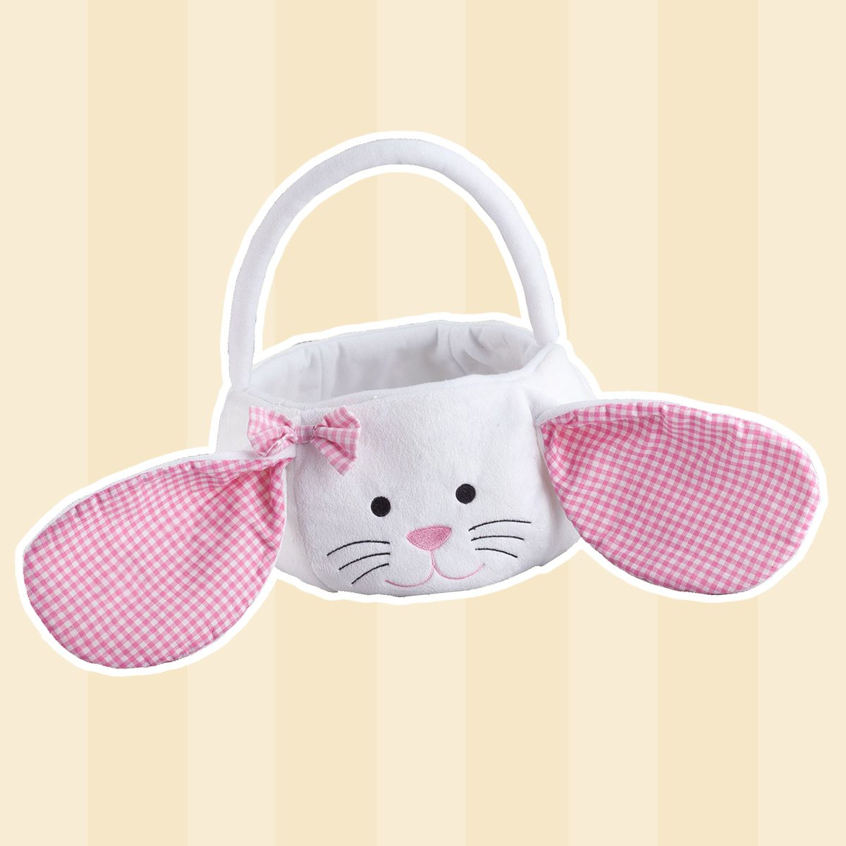 Plush White Bunny with Floppy Gingham Ears