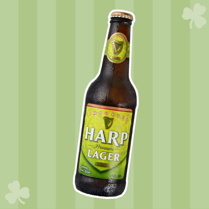 IRVINE, CA - JANUARY 11, 2015: A single bottle of Harp Lager on a bed of ice. Harp is an Irish lager created in 1960 by the Guinness Brewing Company, brewed with pure water from the Cooley Mountains.; Shutterstock ID 245199547; Job (TFH, TOH, RD, BNB, CWM, CM): TOH