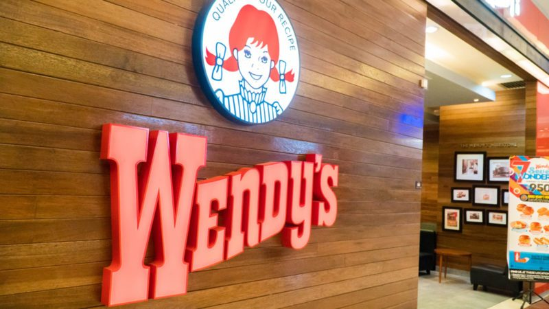 Sign for a Wendy's restaurant