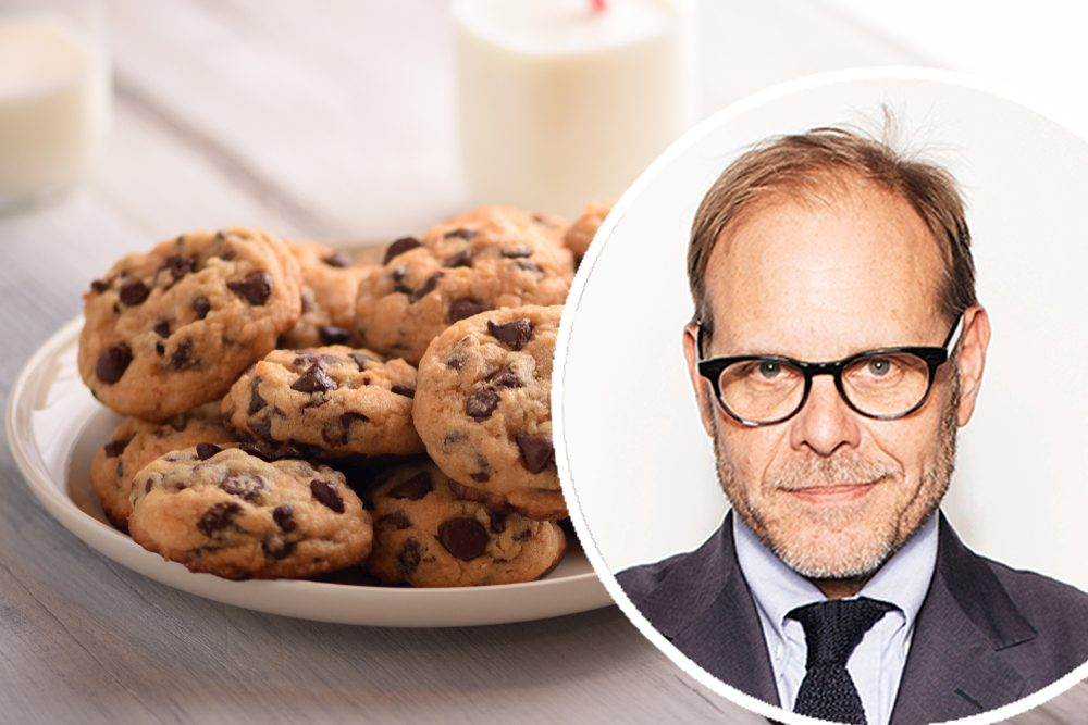 "Pile of Delicious Chocolate Chip Cookies on a White Plate with Milk Bottles; Shutterstock ID 1147305941; Job (TFH, TOH, RD, BNB, CWM, CM): TOH Victoria Will/Invision/AP/REX/Shutterstock Mandatory Credit: Photo by Victoria Will/Invision/AP/REX/Shutterstock (9112648e) Alton Brown poses for a portrait in New York to promote his cookbook, ""EveryDayCook: This Time It's Personal,"" and a live Broadway variety show with a mix of unusual food demonstrations, puppets and songs Alton Brown Portrait Session, New York, USA"